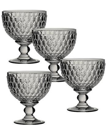Десертная тарелка Boston Smoke Crystal / бокал для шампанского, набор из 4 шт. Villeroy & Boch