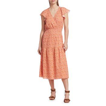 Платье со сборками и принтом Miley Parker