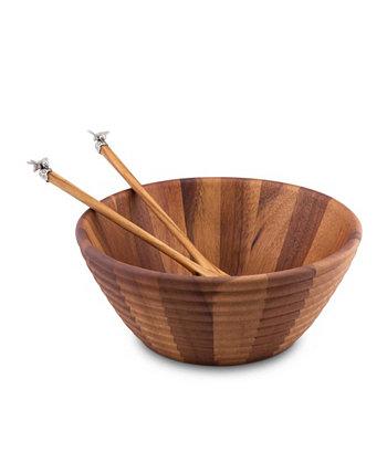 Деревянная тарелка для салата в форме пчелиного улья и сервировочный сервиз с оловянным пчелиным акцентом Vagabond House