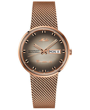 Мужские швейцарские часы Automatic Commander Classic с браслетом из нержавеющей стали с покрытием розового золота 37 мм - Специальная серия MIDO