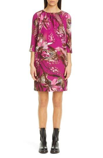 Платье прямого кроя с леопардовым принтом и цветочным принтом FUZZI