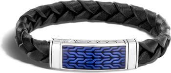 Классический плетеный кожаный браслет из стерлингового серебра с цепочкой JOHN HARDY