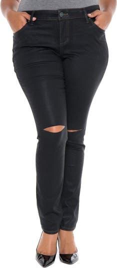 Джинсы-скинни из эластичного материала с разрезом до колена SLINK JEANS