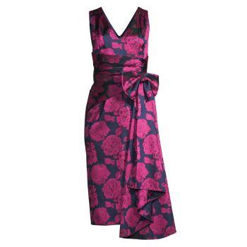 Коктейльное платье без рукавов с цветочным принтом Aidan Mattox