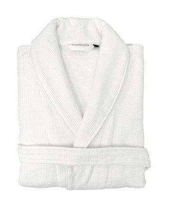 Банный халат из вафельной махровой ткани с атласной окантовкой Linum Home