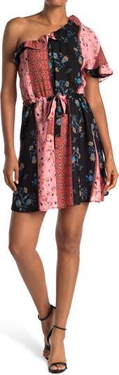 Мини-платье на одно плечо с оборками и смешанным принтом 19 Cooper