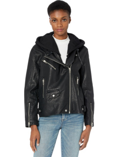 Кожаная длинная мото куртка с капюшоном Blank NYC