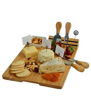 Набор сырной доски из твердой древесины Windsor - инструменты, маркеры для сыра, миска Picnic At Ascot