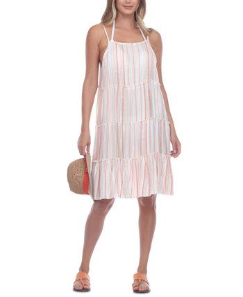 Многослойное платье-накидка в полоску Raviya