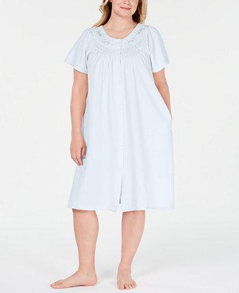 Плюс Размер Цветочная вышивка Вафельный вязаный халат Miss Elaine