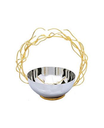 Чаша из нержавеющей стали со съемной круглой ручкой-веточкой золотистого цвета Classic Touch