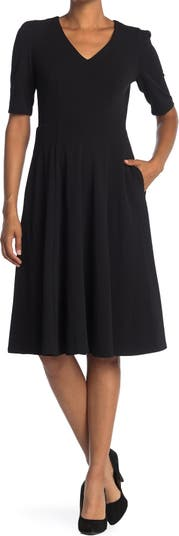 V-Neck Fit & Flare Dress Donna Morgan
