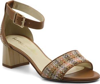 Bowie Woven Leather Ankle Strap Block Heel Sandal Bettye Muller