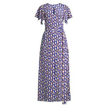 Платье с оборками на рукавах и принтом Jason Wu