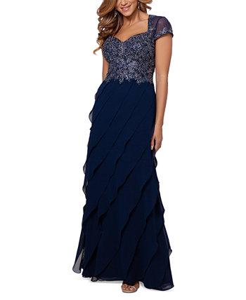 Embroidered-Bodice Ruffled-Skirt Dress XSCAPE