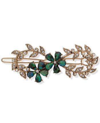 Золотистая заколка из веточки из кристаллов и каменных цветов Lonna & lilly