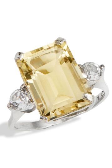 Серебряное кольцо с цитрином изумрудной огранки Savvy Cie