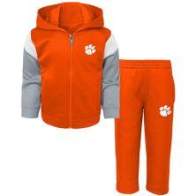 Toddler Orange Clemson Tigers Fleece Full-Zip Hoodie and Pants Set Outerstuff