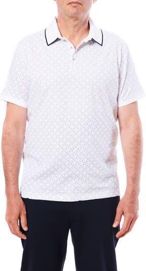 Рубашка-поло с короткими рукавами и микро-геометрическим принтом Toscano