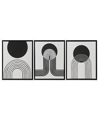 "Cosmic Curl 3 Piece Framed Canvas Set, 16.83"" x 20.83"" Urban Habitat"