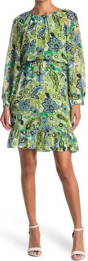 Платье с эластичным поясом и рукавами реглан с принтом Maggy London