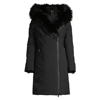 Trish Silver Fox Меховая отделка и меховая отделка Пуховое пальто из кроличьего меха Mackage