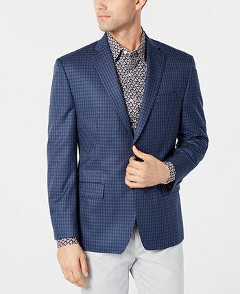 Мужское спортивное пальто в синюю / темно-синюю клетку классического кроя Michael Kors