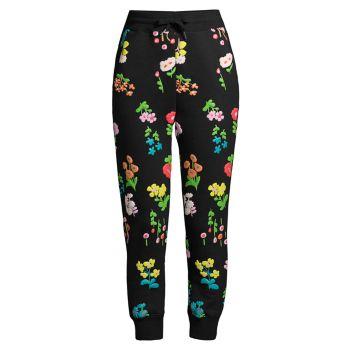 Спортивные брюки с цветочным принтом и буфами Cynthia Rowley