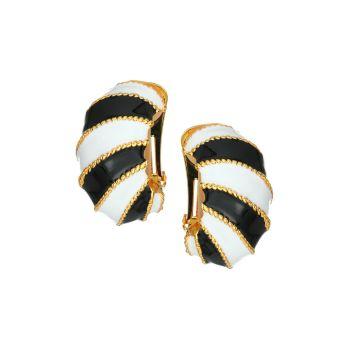 Black & White Enamel Twist Rope Clip-On Earrings Kenneth Jay Lane
