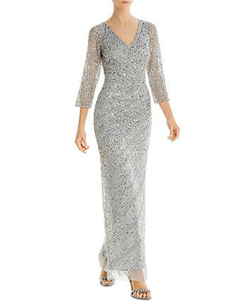 Длинное платье из бисера Adrianna Papell