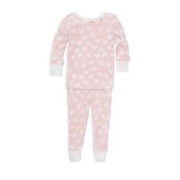 Детские & amp; Пижамный комплект с принтом сердца маленькой девочки Aden + anais
