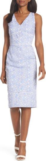 Sleeveless Embroidered Sheath Dress Maggy London