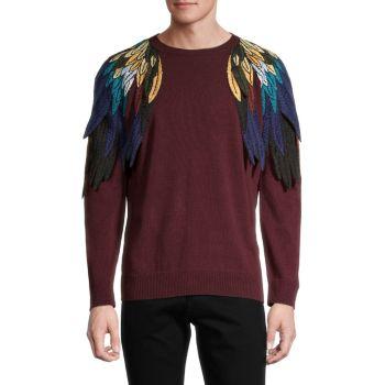 Вышитые крылья Virgin Wool & amp; Кашемировый свитер Valentino