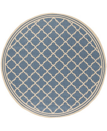 "Linden Blue and Creme 6'7"" x 6'7"" Round Area Rug Safavieh"