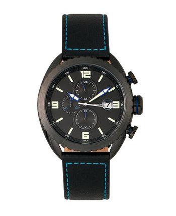 Серия M64, черный корпус, хронограф, часы с синим кантом и черным кожаным ремешком с датой, 48 мм Morphic