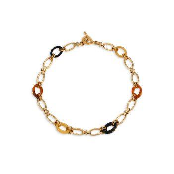 Escale Picot 24K Goldplated & Multicolor Acetate Link Necklace Gas Bijoux
