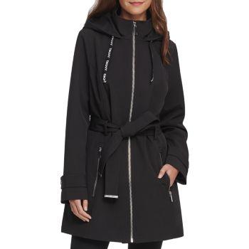 Куртка с капюшоном и поясом DKNY