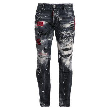 Черные скейтерские джинсы Mess DSQUARED2