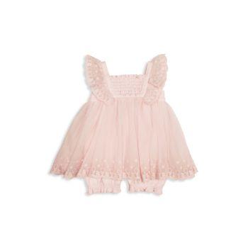 Комбинезон с вышивкой для маленьких девочек с оборками Miniclasix