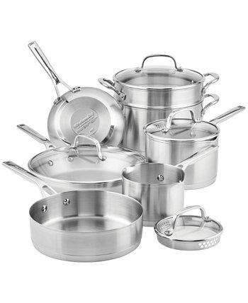 Матовая нержавеющая сталь 11 шт. Набор посуды KitchenAid