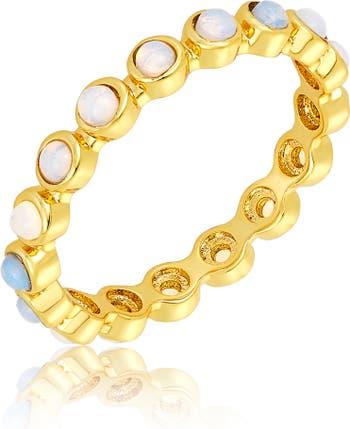Кольцо Eternity из 14-каратного золота с имитацией опала ADORNIA