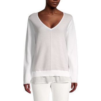 Хлопковый свитер в полоску 2Fer Calvin Klein
