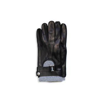 Кожаные перчатки с поясом на манжетах Portolano