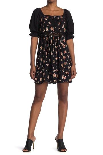 Платье с кружевной вставкой с цветочным рисунком Angie