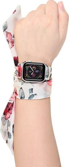 Шелковый шарф с цветочным рисунком 42 мм / 44 мм ремешок Apple Watch 1/2/3/4 POSH TECH