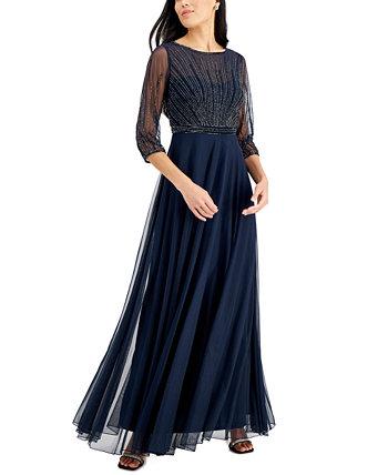 Платье с сетчатыми рукавами и бисером J Kara