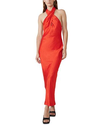 Claudia Bias-Cut Halter Gown Bardot