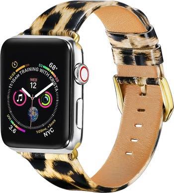 Ремешок из лакированной кожи для Apple Watch 42/44 мм серий 1, 2, 3, 4, 5 - Leopard POSH TECH