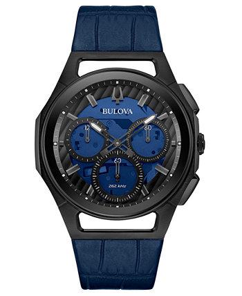 Мужские прогрессивные спортивные синие часы с кожаным ремешком 44мм Bulova