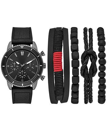 Мужские часы и браслеты с черным ремешком из искусственной кожи, подарочный набор 45 мм Folio